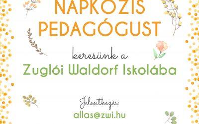 NAPKÖZIS PEDAGÓGUST keresünk a Zuglói Waldorf Iskolába.
